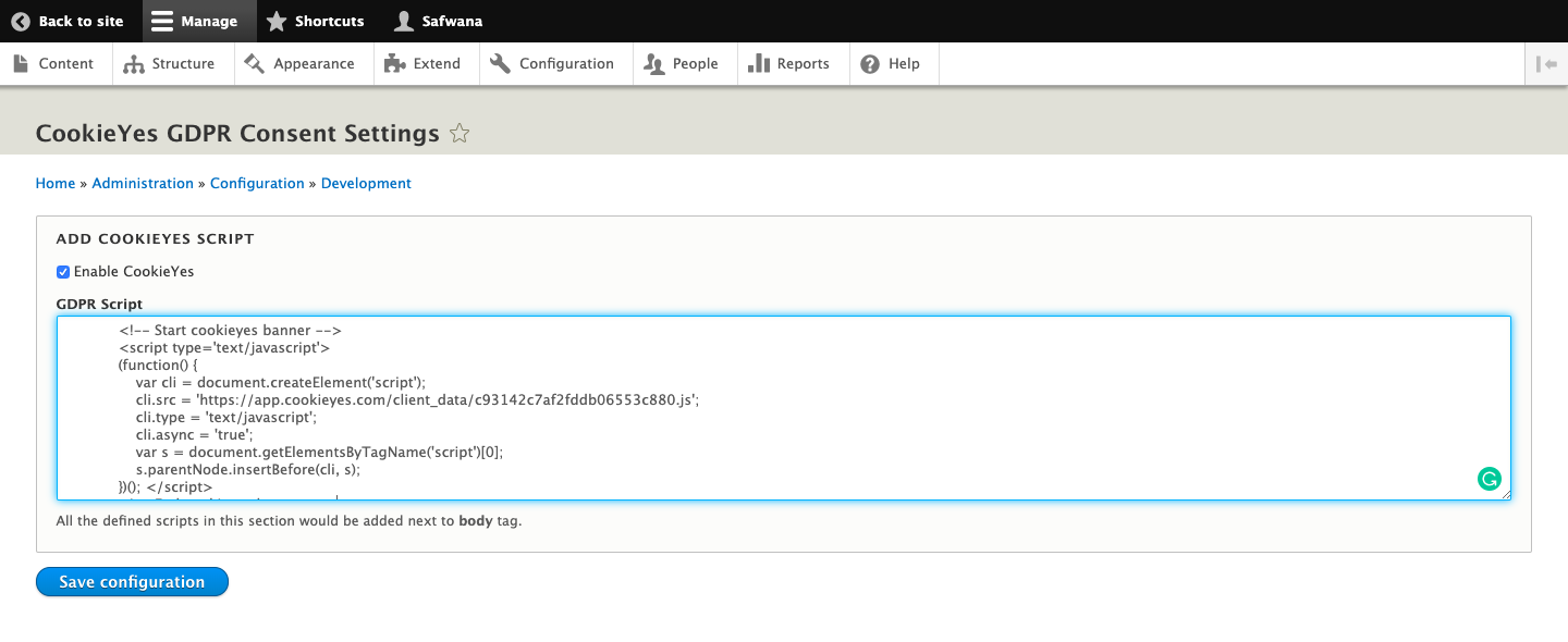 Add CookieYes scripts using Cookie Consent module in Drupal