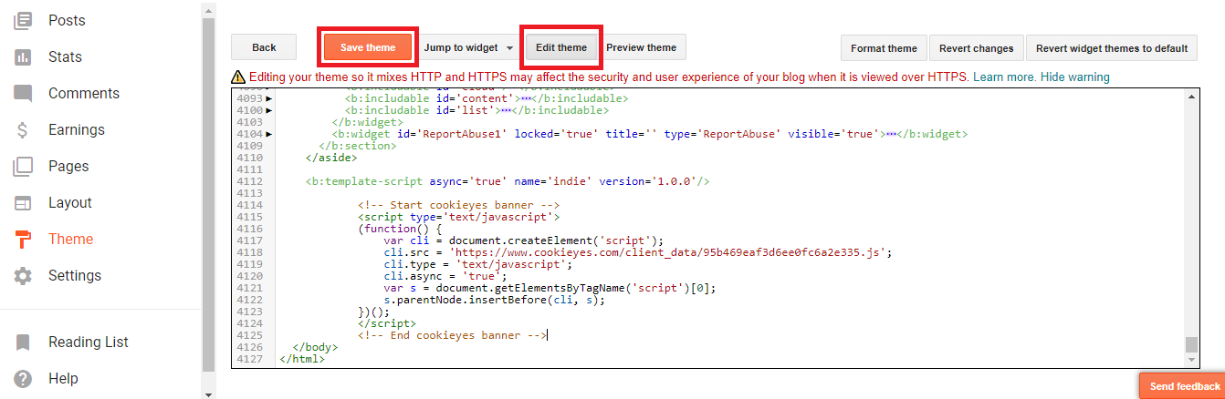 Edit HTML of a Blogger theme