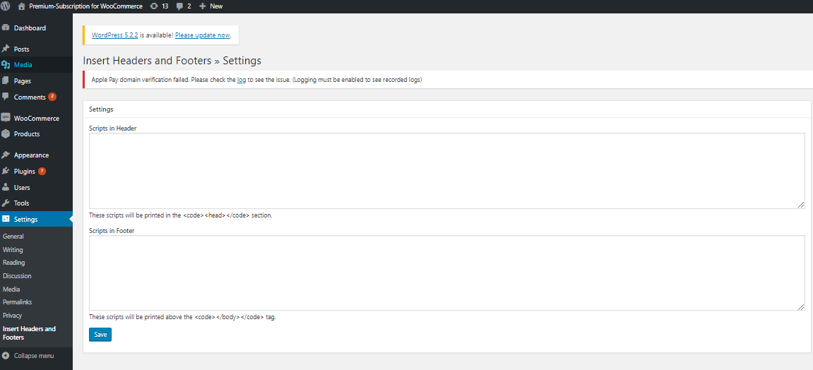 Header and footer settings in plugin