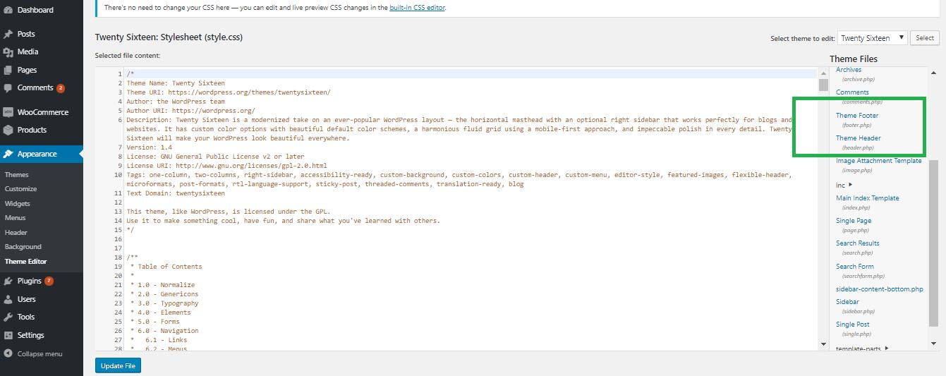 Theme editor page in WordPress
