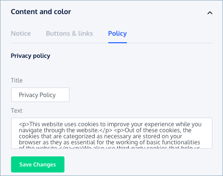 CookieYes-Preview-Content and Colour-Policy