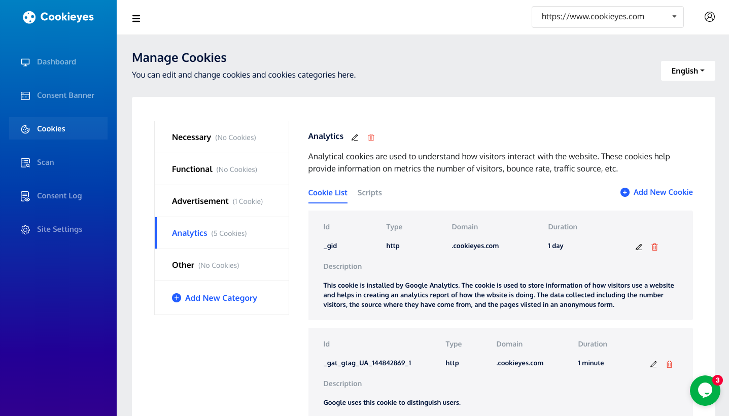 Manage cookies page on CookieYes