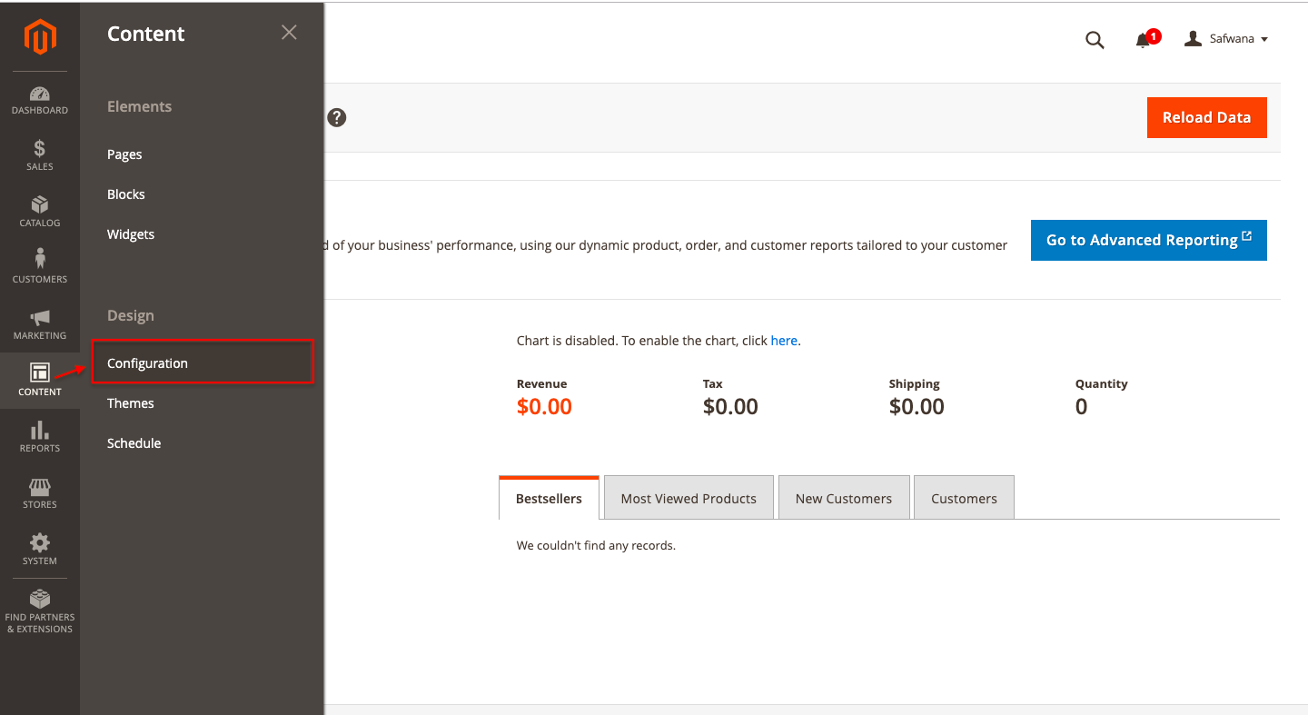 Magento dashboard configuration section