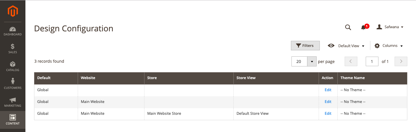 Select store view for Magento