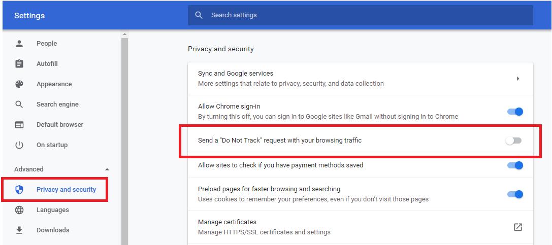 Google Do Not Track toggle