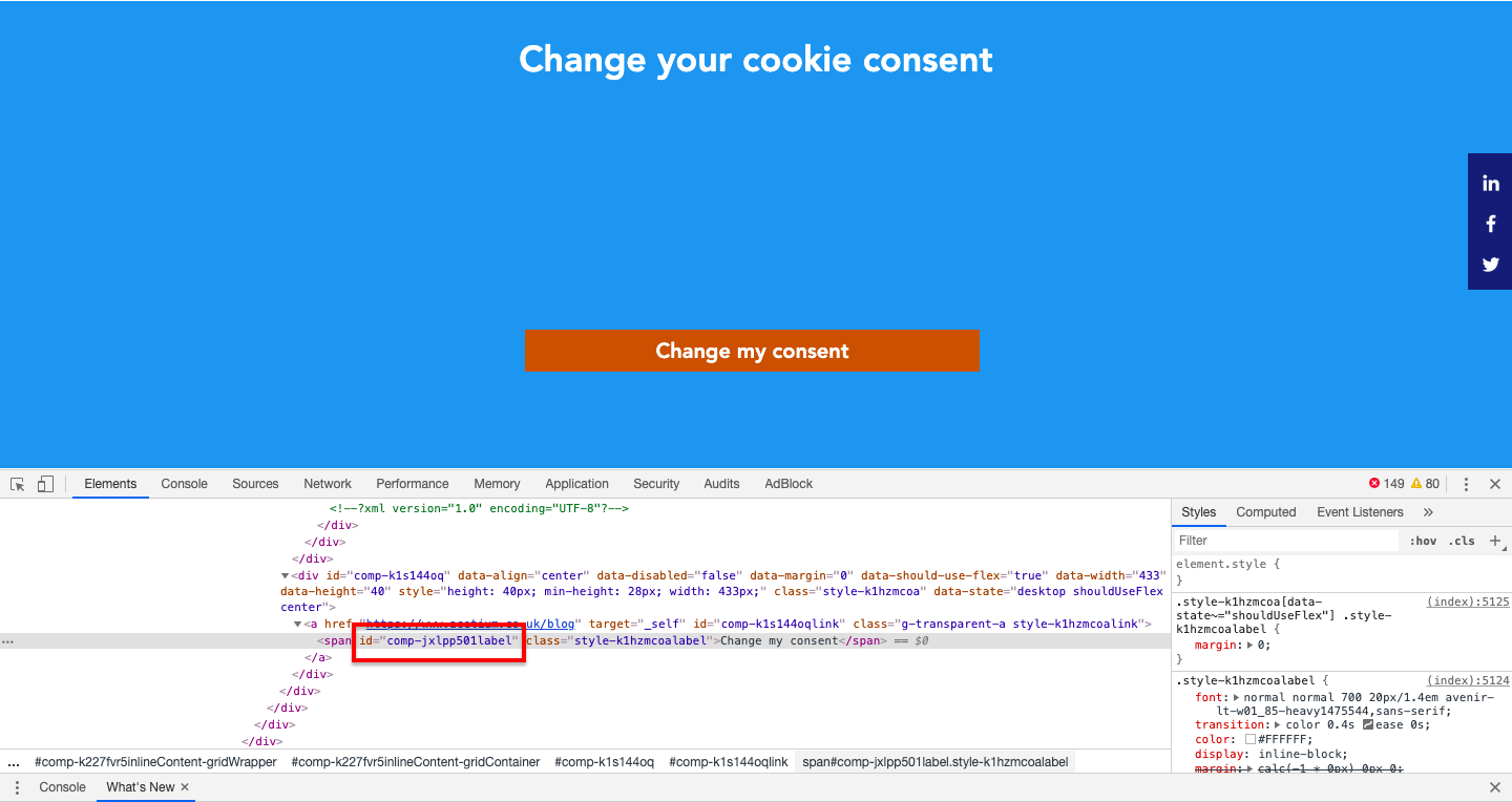 Getting id of button in Wix to add in the change consent code.