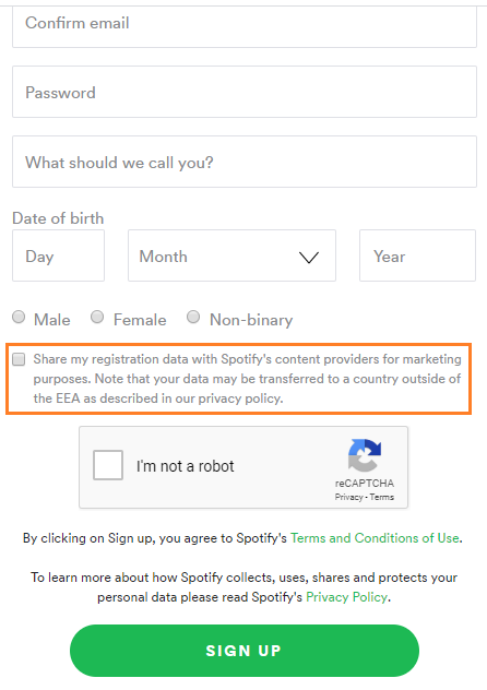 Spotify sign up opt-in