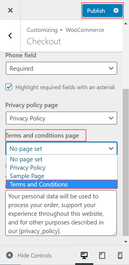 Add Terms and Conditions to WooCommerce checkout page