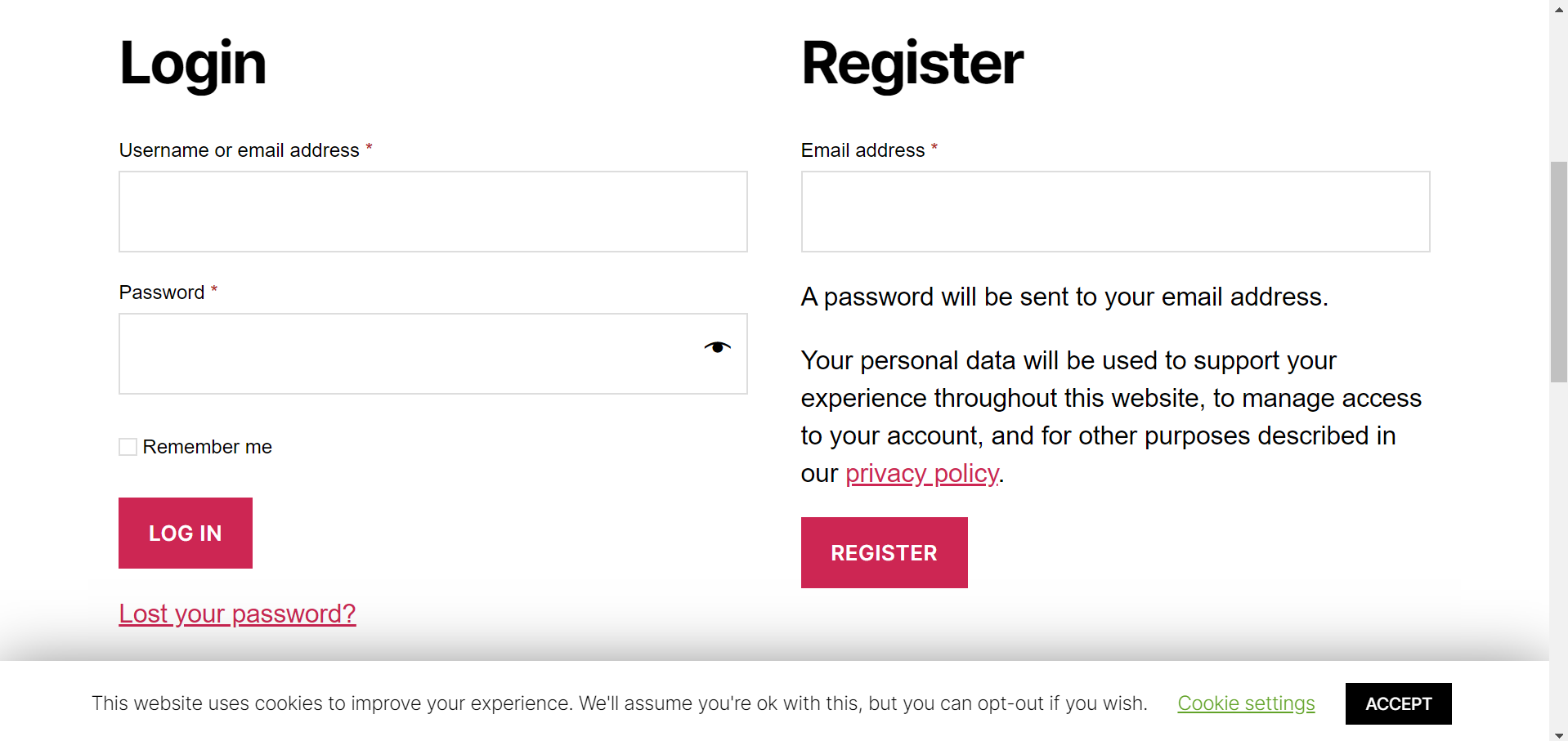 WooCommerce My Account Registration page without privacy policy checkbox