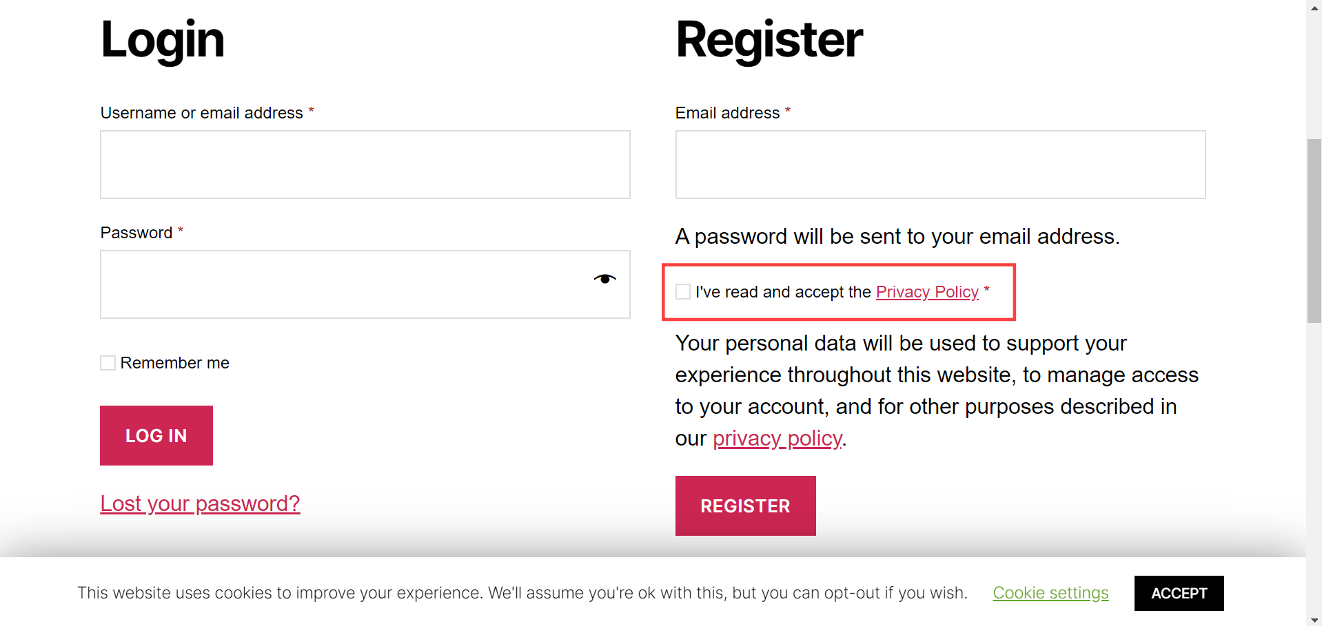 WooCommerce My Account Registration page