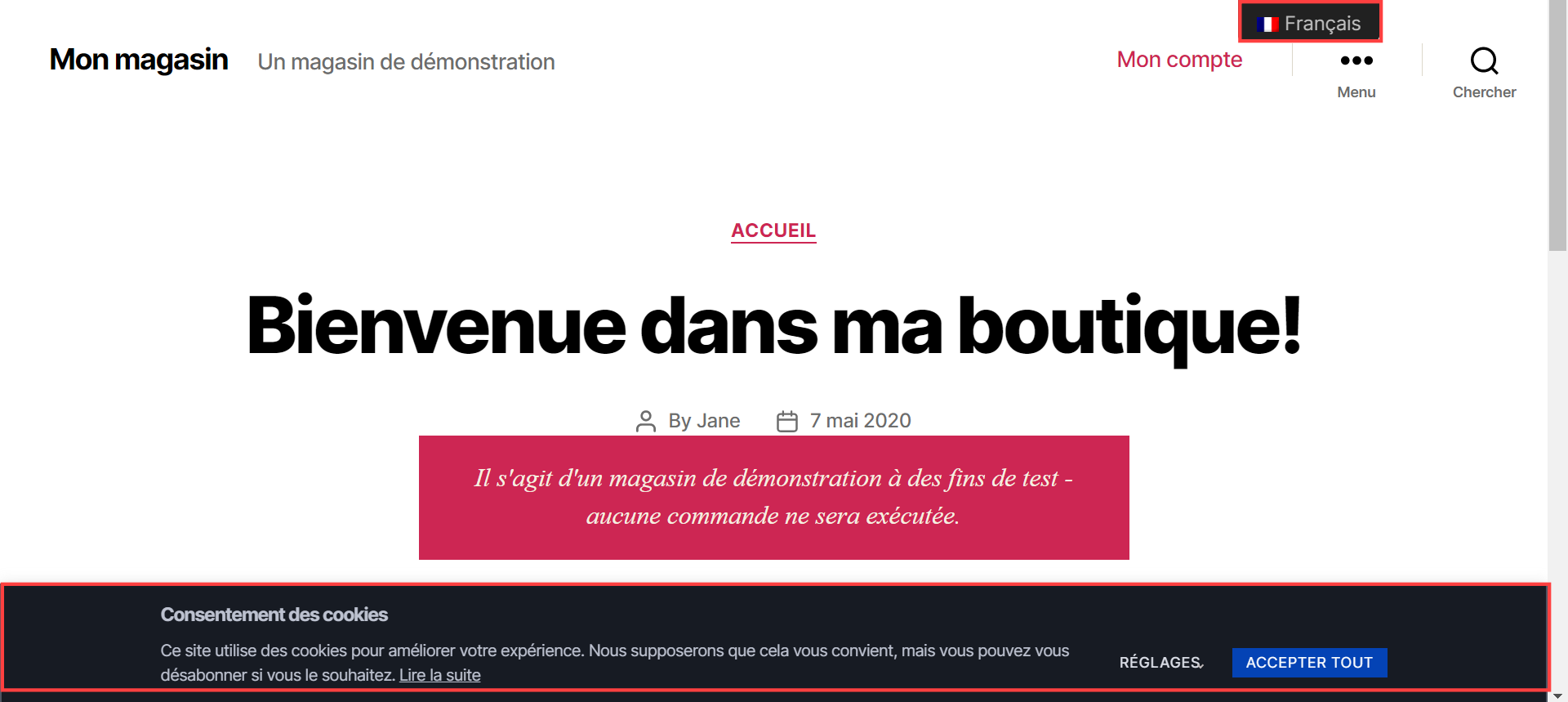 CookieYes Consent Banner in French