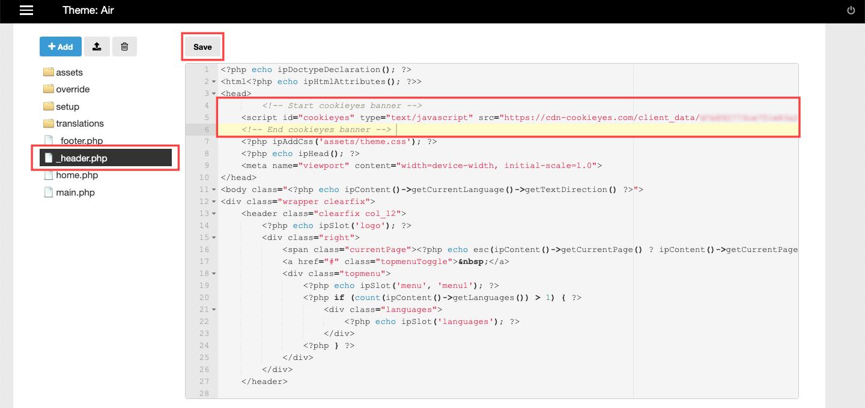 Adding CookieYes Installation Script on ImpressPages