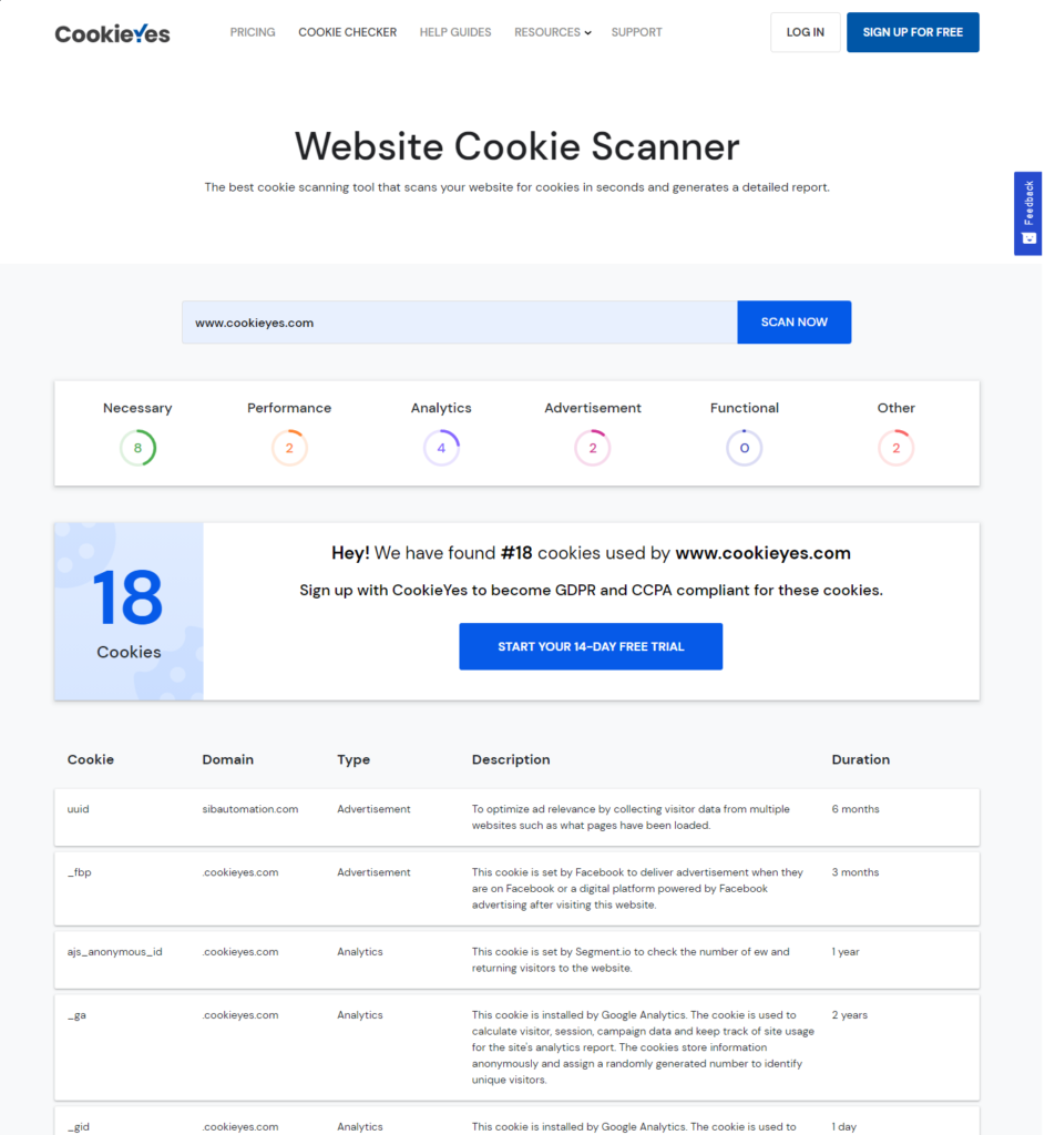 Cookie checker scan report