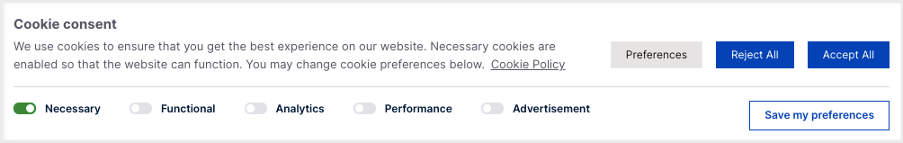 GDPR compliant cookie banner