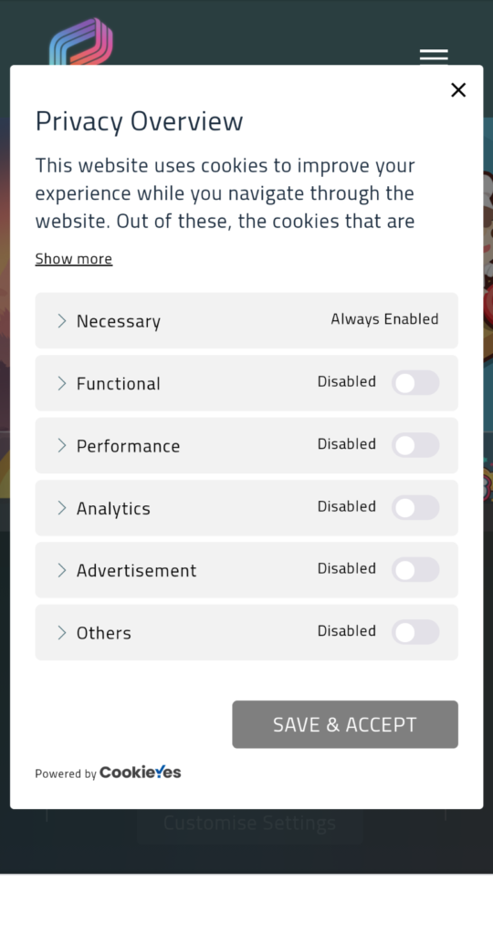 Cookie banner settings in mobile view.