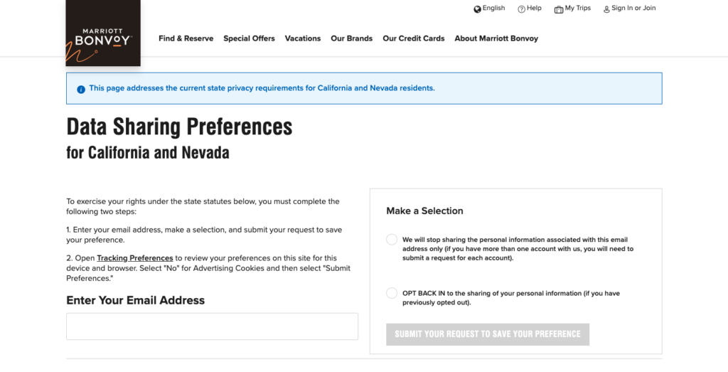A 'Do not sell my personal information' page on Marriott website.
