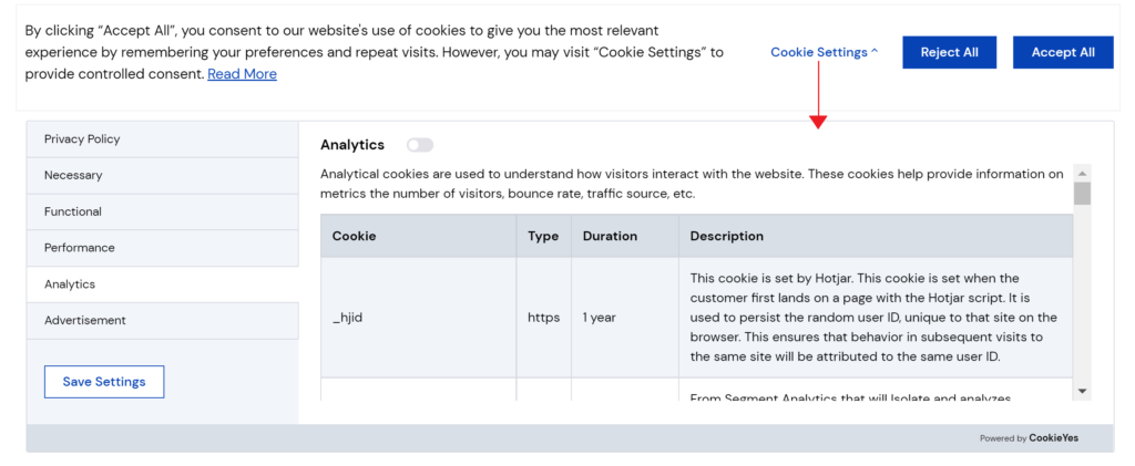 Cookie control banner on CookieYes